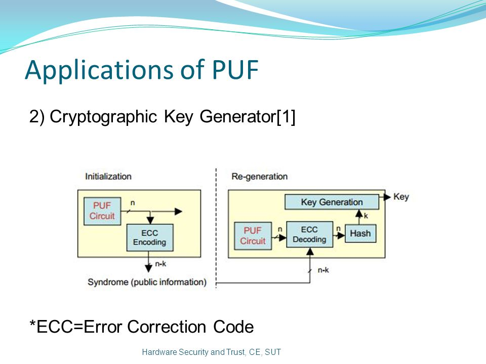 Applications of PUF 2) Cryptographic Key Generator[1]